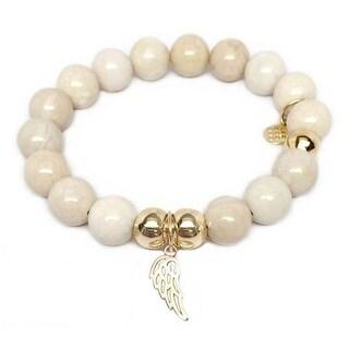 Julieta Jewelry Angel Wing Charm Ivory Jade Bracelet
