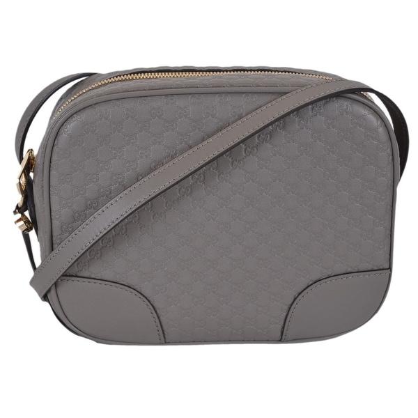 e1017ddb113 Gucci 449413 Grey Leather Micro Gg Guccissima Bree Crossbody