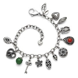 Chisel Stainless Steel Synthetic Jade & Red Glass with 2in ext. Charm Bracelet