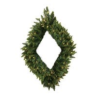 "48"" Pre-Lit Camdon Fir Diamond Shaped Christmas Wreath - Clear LED Lights - green"