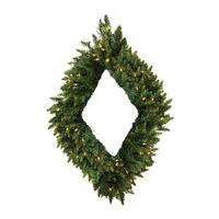"48"" Pre-Lit Camdon Fir Diamond Shaped Christmas Wreath - Clear LED Lights"