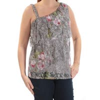 INC Womens Gray Lace Beaded Floral Sleeveless V Neck Top  Size: L