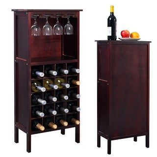 Costway Wood Wine Rack Holder Storage Shelf Display w/ Glass Hanger (20-Bottle(Cabinet)) - Burgundy