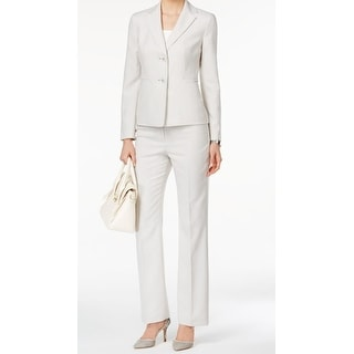 Le Suit NEW Gray Women's Size 4 Pinstriped Two Button Pant Suit Set