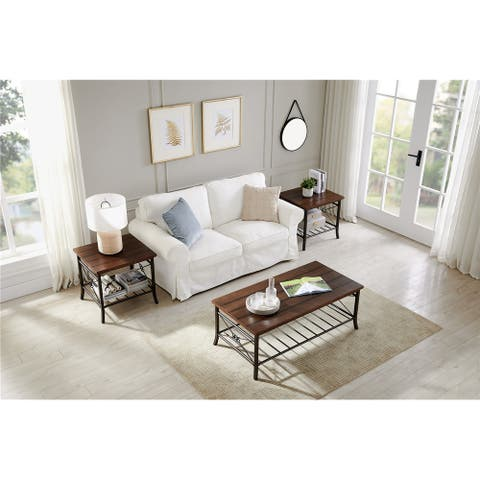 3-Piece MDF panels Occasional Table Set with 1 cocktail and 2 End Table Sets