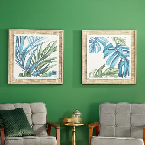 Blue Dried Plant Material Eclectic Framed Wall Art (Set of 2)