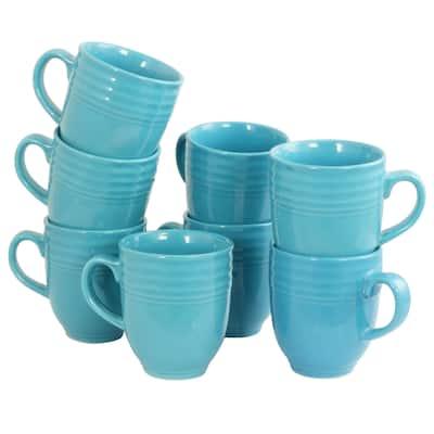 Plaza Cafe 15oz Mug Set in Turquoise, Set of 8