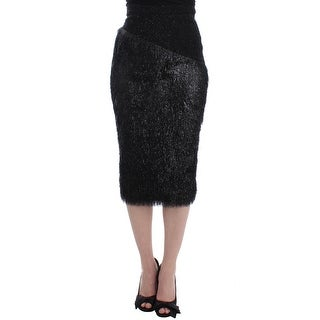 Masha Ma Masha Ma Black Viscose Wool Pencil Skirt - M
