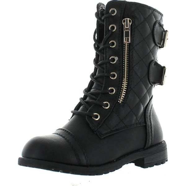 Link Mango79k Childrens Girls Mid Calf Quilted Back Buckle Lace Up Combat Boots - Black