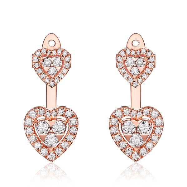 Prism Jewel 0.66ct G-H/SI1 Round Cut Natural Diamond Heart Shape Push Back Earring - White G-H