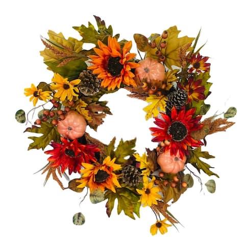 """Wreath Sunflower Pumpkin Yellow Gold Rust 22"""""""