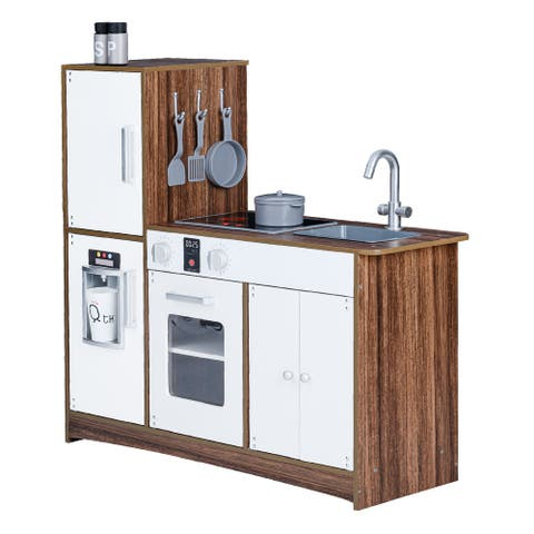 Teamson Kids Little Chef Palm Springs Classic Kids Play Kitchen with 6 Accessories, Natural & White - 23.5 x 11.5 x 23.5
