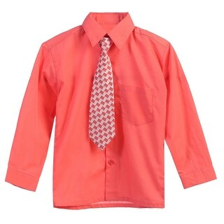 Little Boys Coral Tie Long Sleeve Button Special Occasion Dress Shirt 2T-7