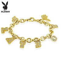 Playboy Clear Gems Gold IP Stainless Steel Charm Bracelet (10 mm) - 8 in