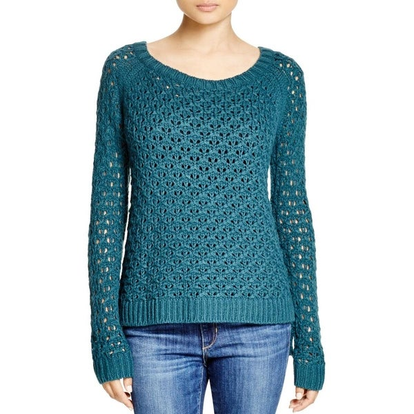 Cupio Womens Pullover Sweater Open Stitch Hi-Low