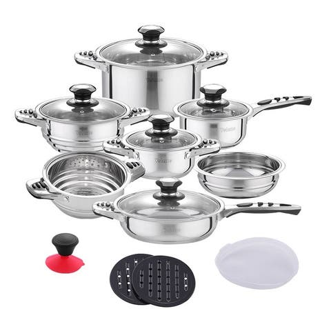 Velaze Haru Stainless Steel 16-Piece Cookware Set (Set of 16)