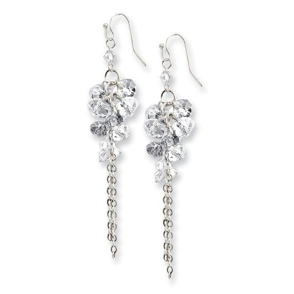 Silvertone Clear Crystal Circle Drop Earrings