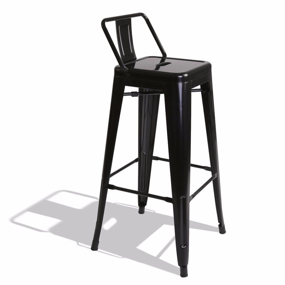 Strange Belleze 30 Inch Barstools Black Bar Stools Low Back Set Of 4 Inzonedesignstudio Interior Chair Design Inzonedesignstudiocom