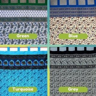 Handmade Paisley Elephant 100% Cotton Tab Top Curtain Drape Panel Blue Green Gray 44x88 - 44 x 88