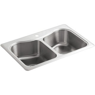 """Kohler K-3369-1  Staccato 33"""" Double Basin Top-Mount 18-Gauge Stainless Steel Kitchen Sink with SilentShield - Stainless Steel"""