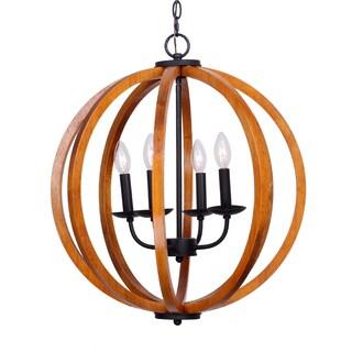 21-inch Distressed Weathered Oak 4-Light Wood Orb Chandelier (Option: Orange)