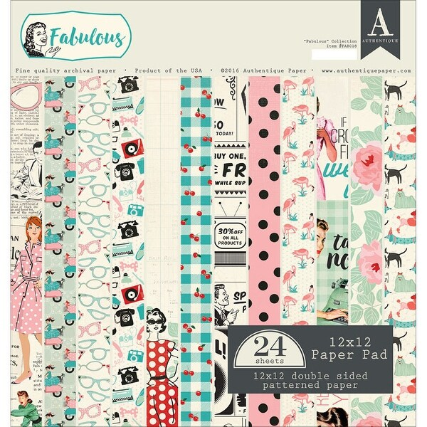 """Authentique Double-Sided Cardstock Pad 12""""X12"""" 24/Pkg-Fabulous, 12 Designs/2 Each"""