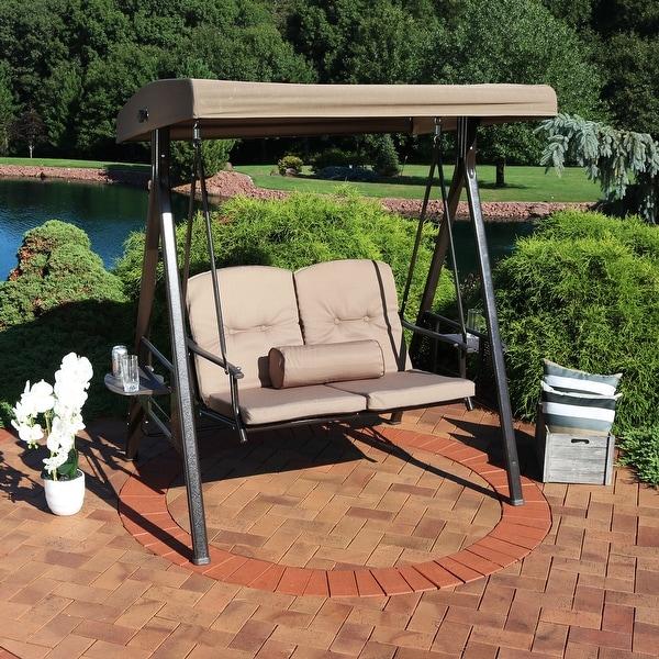 Sunnydaze 2-Person Outdoor Adjustable Tilt Canopy Patio Loveseat Swing - Beige