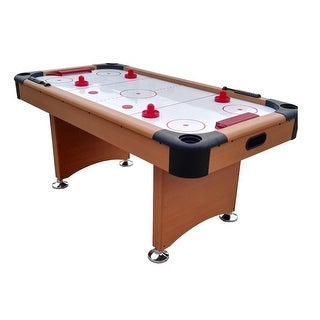 6' x 3' Brown, White and Red Recreational Air Hockey Game Table