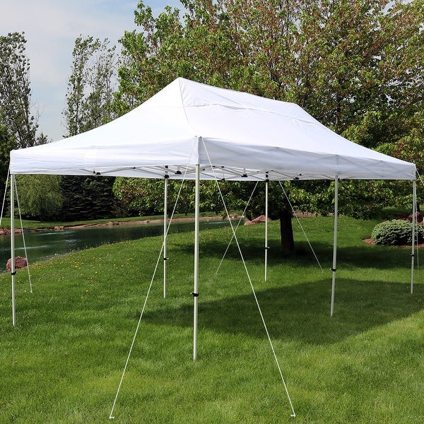 Sunnydaze Quick-Up Instant Pop-Up Canopy Party-Wedding Tent 10 x 20 Foot White