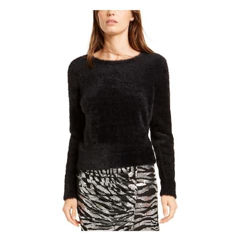 BAR III Womens Black Long Sleeve Jewel Neck Sweater Size XXS