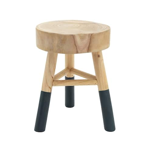 """Wooden 17.5"""" Accent Stool W/ Dipped Legs, Tan/Navy - 11.5Wx10.75Lx15.75H"""
