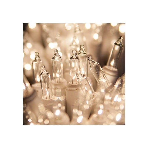 "Wintergreen Lighting 15200 33.7' Long Indoor Standard 100 Mini Light Holiday Light Strand with 4"" Spacing and White Wire"