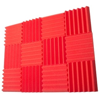 Seismic Audio 12 Pack of Red 2 Inch Studio Acoustic Foam Sheets - Sound Dampening Tiles