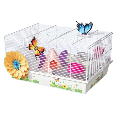 """Midwest Critterville Butterfly Hamster Home 19.5"""" x 13.8"""" x 9.8"""" - Clear, White - 19.5"""" x 13.8"""" x 9.8"""""""