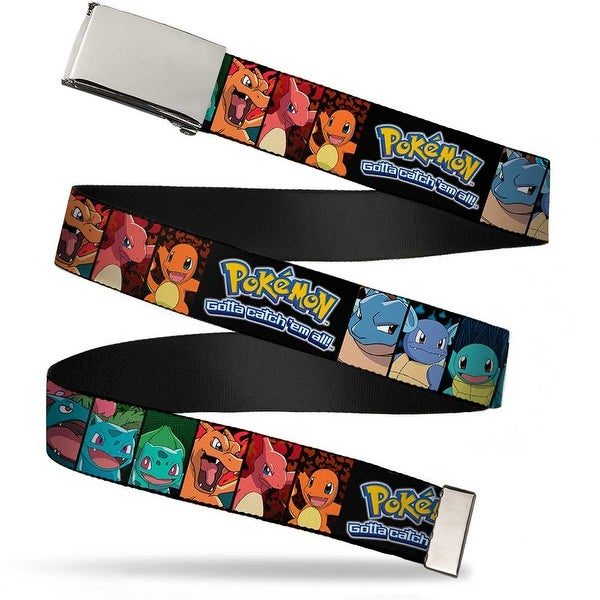 Blank Chrome Buckle Pokemon Logo Kanto Starter Pokemon Evolution Web Belt - S