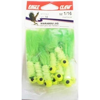 Eagle Claw Laker Maribou Jig 1/16 10ct Chartreuse