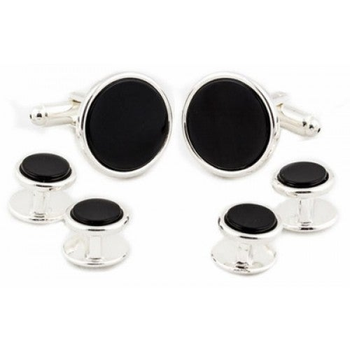 Sterling Silver Plated Onyx Formal Set