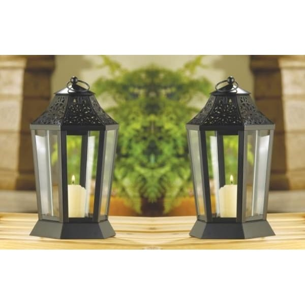 Set of 2 Midnight Garden Candle Lamps