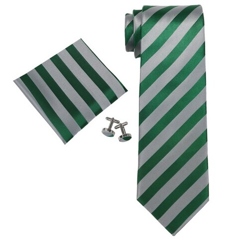 Men's Green Grey Stripes 100% Silk Neck Tie Set Neck tie+Hanky+Cufflinks