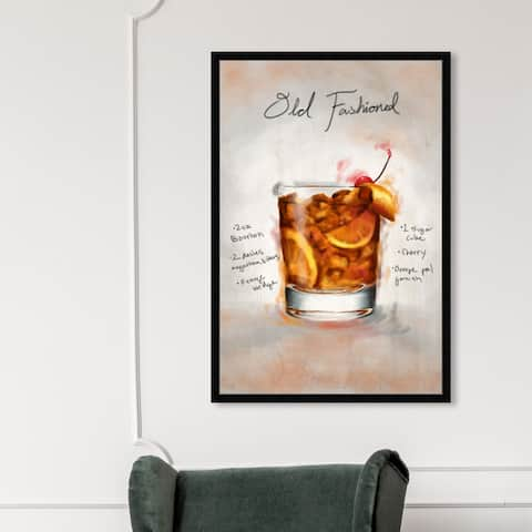 Oliver Gal 'Old Fashioned' Drinks and Spirits Wall Art Framed Print Cocktails - Orange, Yellow