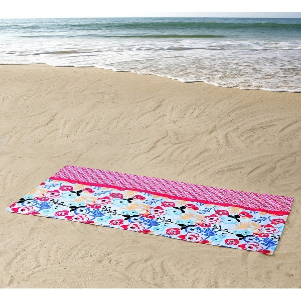 ClaireBella Floral Cotton Beach Towel, Pink-Multi, 36x72 Inches - Pink