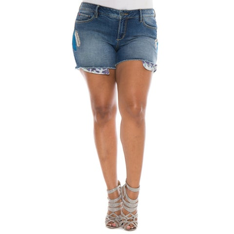 Slink Blue Women's Size 16 Frayed Feather Embroidered Denim Shorts