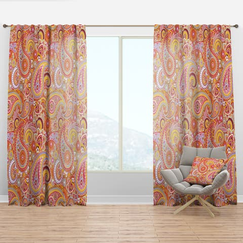 Designart 'Pattern Based on Traditional Asian Elements' Modern & Contemporary Curtain Panel