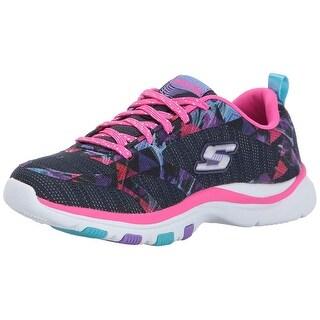 Skechers Kids Girls' Trainer Lite Sneaker,Navy/Hot Pink,