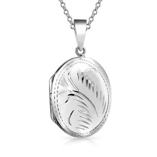 Bling Jewelry Etched Oval Polish Finish .925 Silver Locket Pendant Necklace 18 In