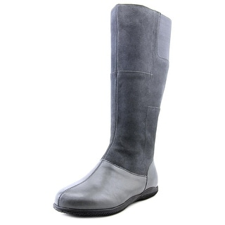 Softwalk Hollywood Wide Calf Women Round Toe Leather Gray Knee High Boot
