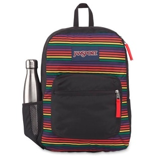 JanSport Cross Town 100% Authentic School Backpack With Front Pocket 13x8.5x17 - OS (Rainbow Stripes)