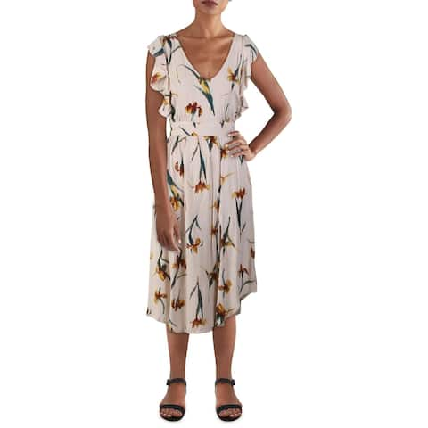 O'Neill Womens Amberlynn Midi Dress Floral Smock - Tan