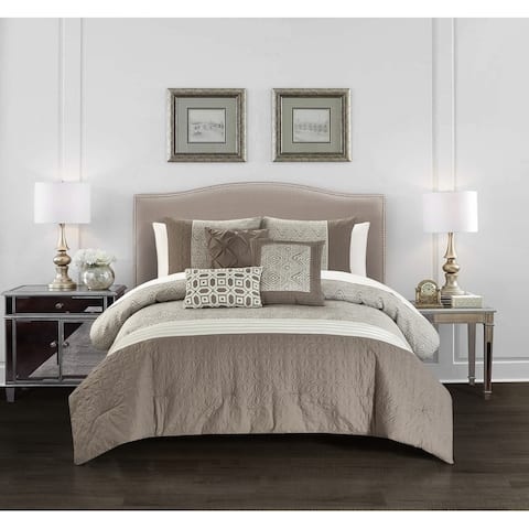 Chic Home Ima 10 Piece Jacquard Quilted Details Comforter Set, Beige