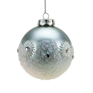 """Ice Palace Matte Light Pink with Glitter Drenched Snowflake Top Glass Christmas Ball Ornament 3"""" (75mm)"""